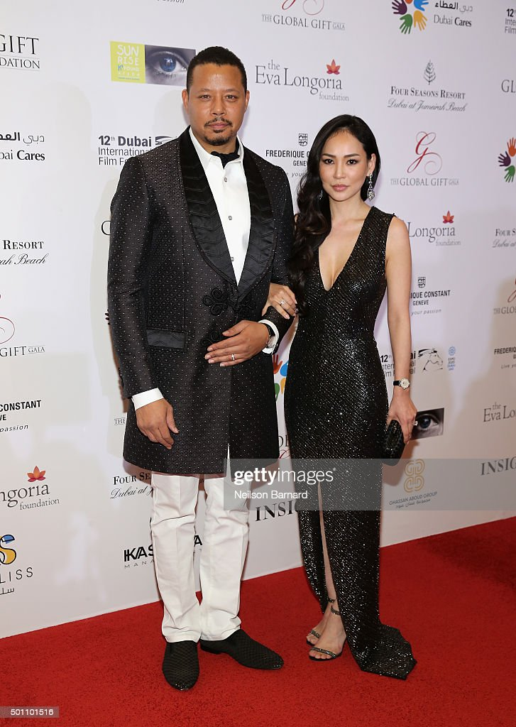 Actor Terrence Howard with his wife Miranda attend the Global Gift Gala during day four of the 12th annual Dubai International Film Festival held at the Four Seasons Hotel on December 12, 2015 in Dubai, United Arab Emirates.