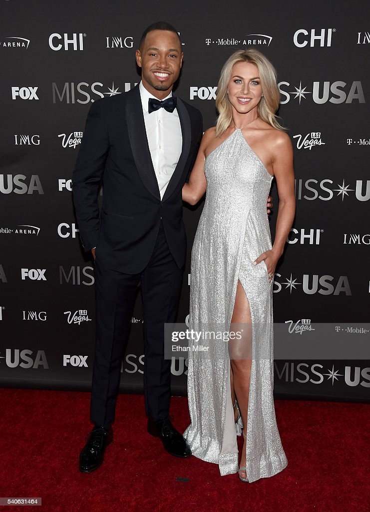 Actor Terrence J (L) and dancer/actress Julianne Hough attend the 2016 Miss USA pageant at T-Mobile Arena on June 5, 2016 in Las Vegas, Nevada.