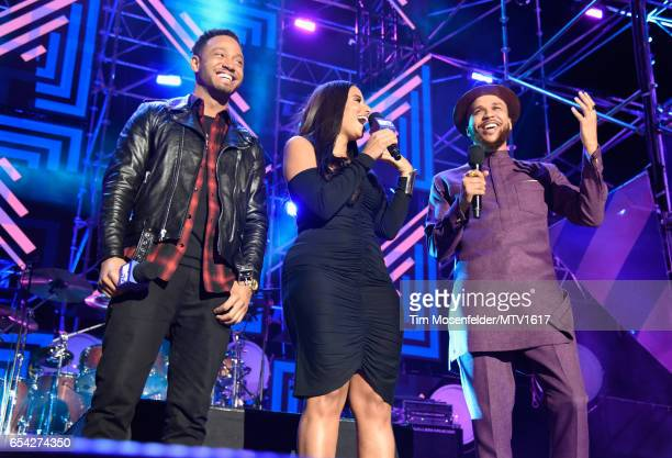 Actor Terrence J Radio/TV personality Nessa 'Ness Nitty' and Recording artist Jidenna speak onstage at MTV Woodies LIVE on March 16 2017 in Austin...