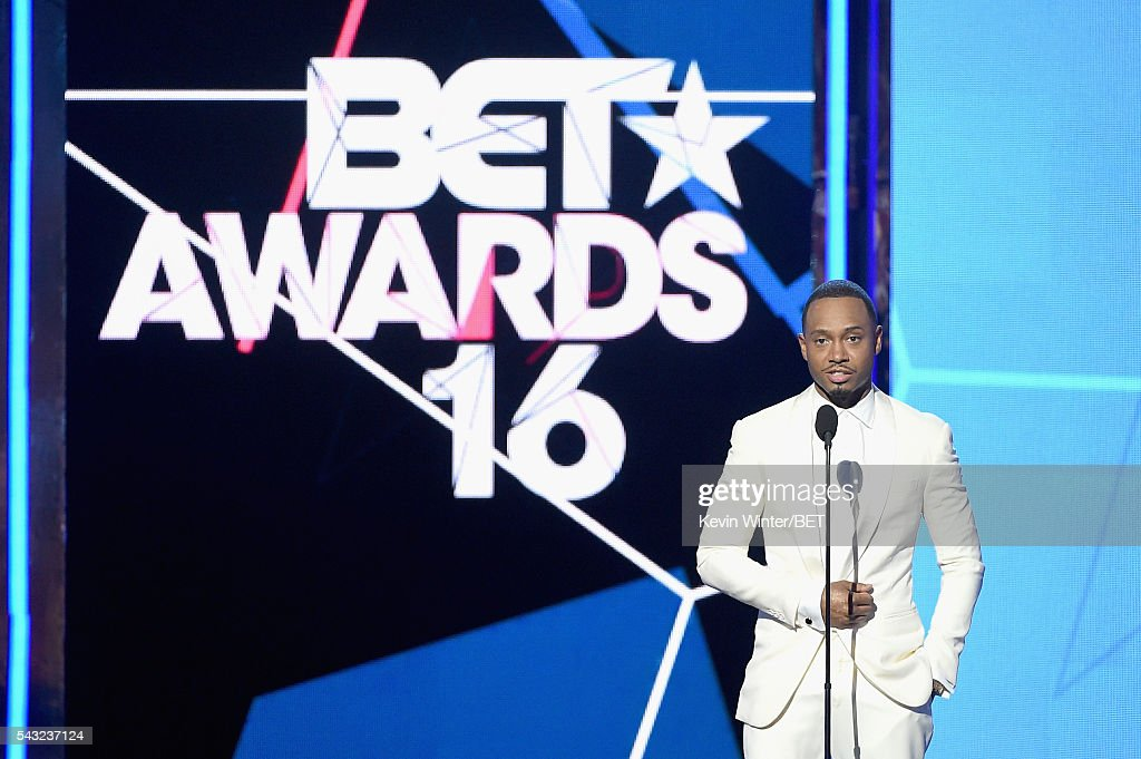 Actor <a gi-track='captionPersonalityLinkClicked' href=/galleries/search?phrase=Terrence+J&family=editorial&specificpeople=4419581 ng-click='$event.stopPropagation()'>Terrence J</a> speaks onstage during the 2016 BET Awards at the Microsoft Theater on June 26, 2016 in Los Angeles, California.