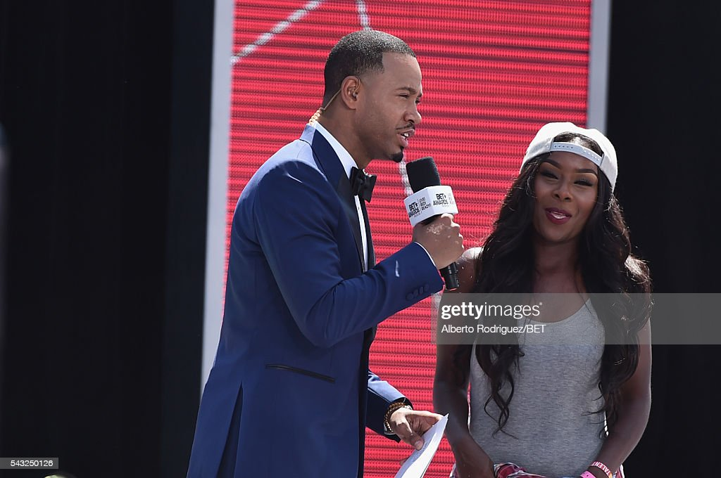 Actor <a gi-track='captionPersonalityLinkClicked' href=/galleries/search?phrase=Terrence+J&family=editorial&specificpeople=4419581 ng-click='$event.stopPropagation()'>Terrence J</a>enkins (L) and an audience member attend the 2016 BET Awards at the Microsoft Theater on June 26, 2016 in Los Angeles, California.