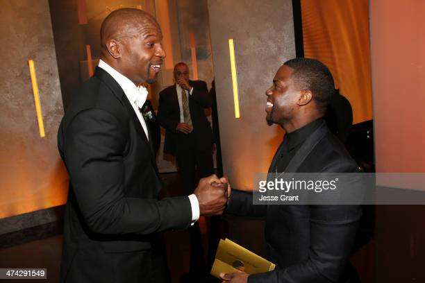 Actor Terry Crews and actor Kevin Hart attends the 45th NAACP Image Awards presented by TV One at Pasadena Civic Auditorium on February 22 2014 in...