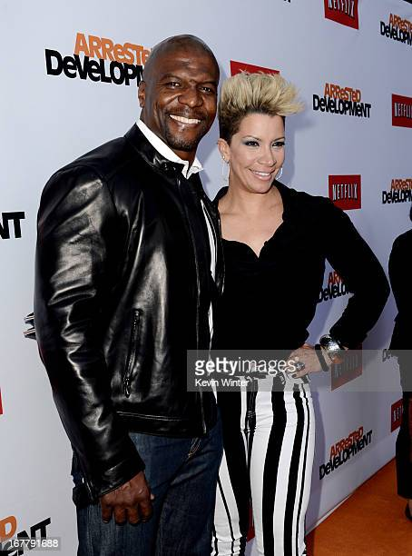 Actor Terry Crews and his wife Rebecca KingCrews arrive at the premiere of Netflix's 'Arrested Development' Season 4 at the Chinese Theatre on April...