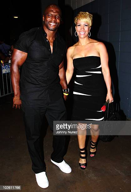 Actor Terry Crews and wife Rebecca Crews attend the 2010 Essence Music Festival at the Louisiana Superdome on July 2 2010 in New Orleans Louisiana