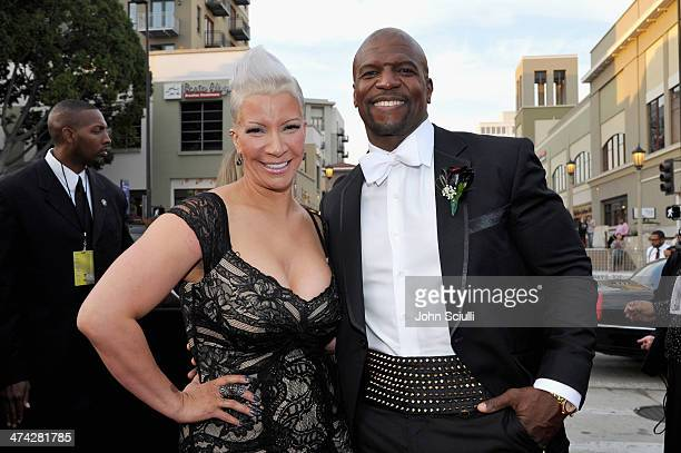 Actor Terry Crews and wife Rebecca KingCrews attend the 45th NAACP Image Awards presented by TV One at Pasadena Civic Auditorium on February 22 2014...