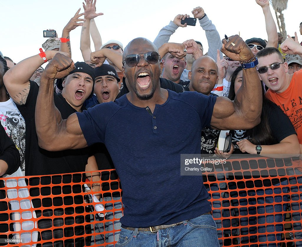 Actor <a gi-track='captionPersonalityLinkClicked' href=/galleries/search?phrase=Terry+Crews&family=editorial&specificpeople=569932 ng-click='$event.stopPropagation()'>Terry Crews</a> arrives at a special screening of Lionsgate's 'The Expendables' at Camp Pendleton on July 23, 2010 in Oceanside, California.