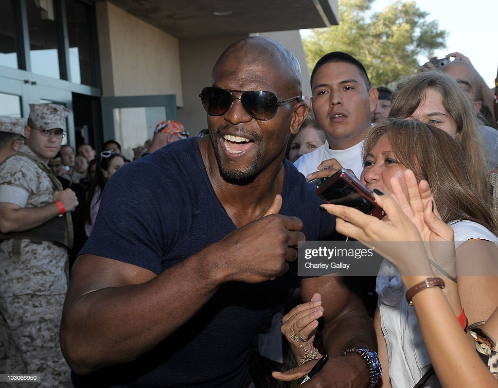 Actor Terry Crews arrives at a special screening of Lionsgate's 'The Expendables' at Camp Pendleton on July 23, 2010 in Oceanside, California.