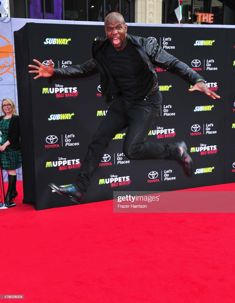 Actor <a gi-track='captionPersonalityLinkClicked' href=/galleries/search?phrase=Terry+Crews&family=editorial&specificpeople=569932 ng-click='$event.stopPropagation()'>Terry Crews</a> arrives at the premiere Of Disney's 'Muppets Most Wanted' at the El Capitan Theatre on March 11, 2014 in Hollywood, California.