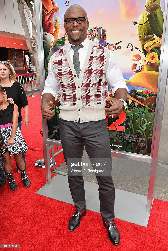 Actor <a gi-track='captionPersonalityLinkClicked' href=/galleries/search?phrase=Terry+Crews&family=editorial&specificpeople=569932 ng-click='$event.stopPropagation()'>Terry Crews</a> arrives to the premiere of Columbia Pictures and Sony Pictures Animation's 'Cloudy With A Chance of Meatballs 2' at the Regency Village Theatre on September 21, 2013 in Westwood, California.
