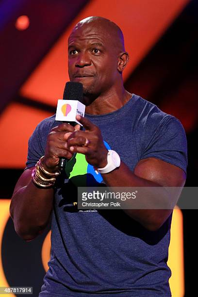 Actor Terry Crews speaks onstage during the Think It Up education initiative telecast for teachers and students hosted by Entertainment Industry...