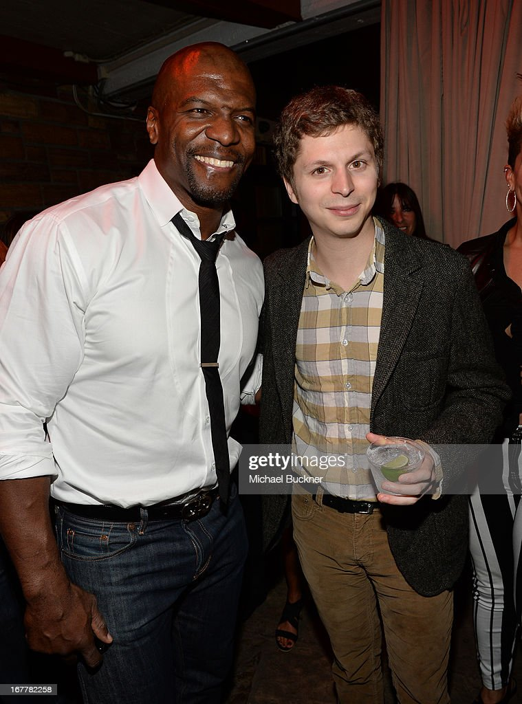 Actor Terry Cruz (L) and actor <a gi-track='captionPersonalityLinkClicked' href=/galleries/search?phrase=Michael+Cera&family=editorial&specificpeople=226654 ng-click='$event.stopPropagation()'>Michael Cera</a> attend the after party for the Los Angeles Premiere of Season 4 of Netflix's 'Arrested Development' at the Roosevelt Hotel on April 29, 2013 in Hollywood, California.