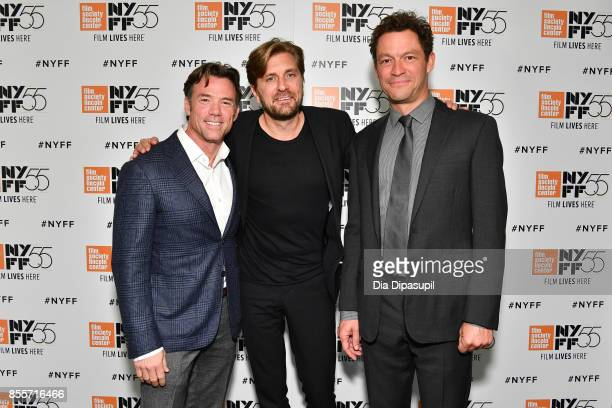 Actor Terry Notary director/writer Ruben Ostlund and actor Dominic West attend the premiere of 'The Square' during the 55th New York Film Festival at...