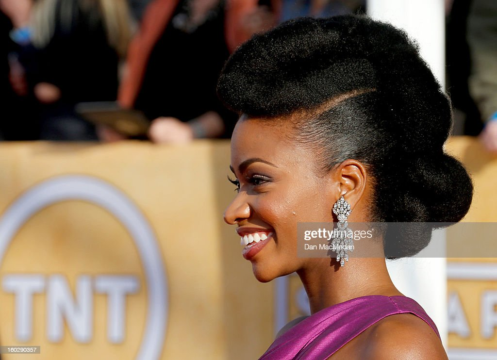 Actor Teyonah Parris arrives at the 19th Annual Screen Actors Guild Awards at the Shrine Auditorium on January 27, 2013 in Los Angeles, California.