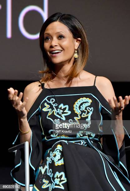 Actor Thandie Newton speaks onstage during HBO's 'Westworld' FYC panel at the Saban Media Center on May 30 2017 in North Hollywood California
