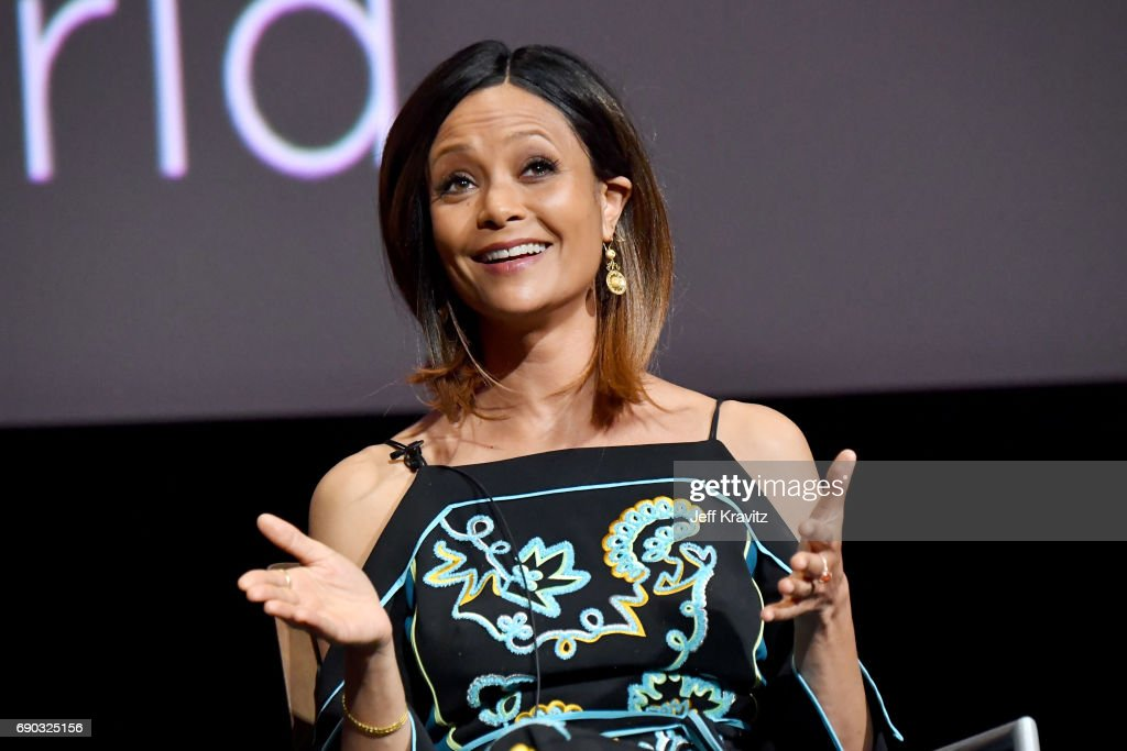 Actor Thandie Newton speaks onstage during HBO's 'Westworld' FYC panel at the Saban Media Center on May 30, 2017 in North Hollywood, California.