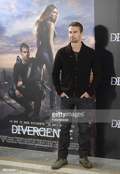 Actor Theo James attends a photocall for 'Divergent' at Villamagna Hotel on April 3 2014 in Madrid Spain