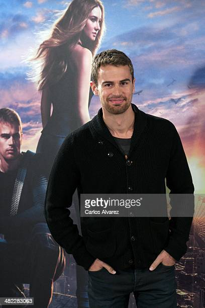Actor Theo James attends the 'Divergent' photocall at the Villamagna Hotel on April 3 2014 in Madrid Spain