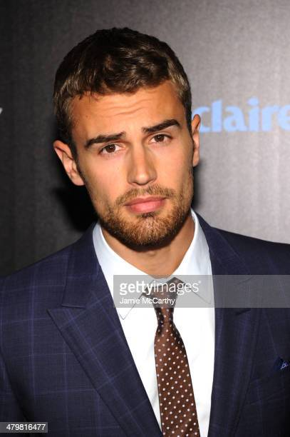 Actor Theo James attends the Marie Claire The Cinema Society screening of Summit Entertainment's 'Divergent' at Hearst Tower on March 20 2014 in New...