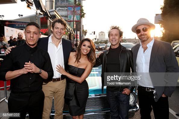 Actor Theo Rossi producer Jason Blum actress Eva Longoria producer Brian Grazer and filmmaker Ricardo de Montreuil attend the premiere of 'Lowriders'...