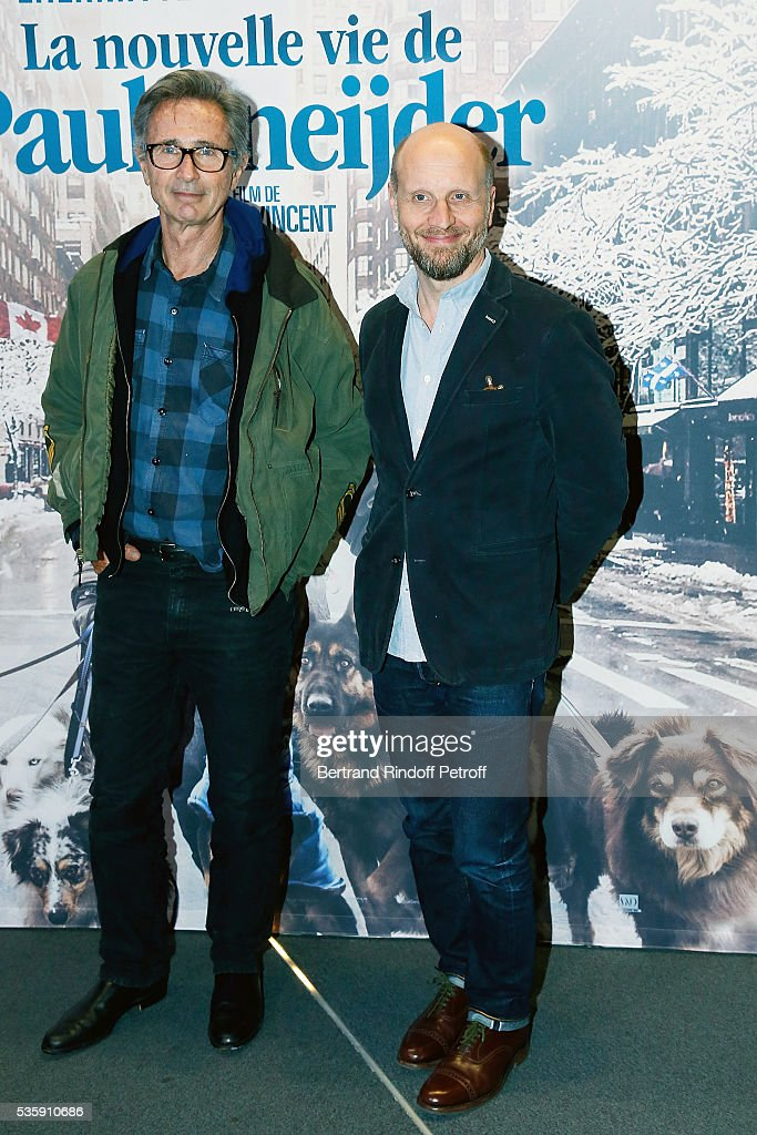 Actor <a gi-track='captionPersonalityLinkClicked' href=/galleries/search?phrase=Thierry+Lhermitte&family=editorial&specificpeople=768146 ng-click='$event.stopPropagation()'>Thierry Lhermitte</a> and Director Thomas Vincent attend the 'La Nouvelle Vie De Paul Sneijder' Premiere at UGC Cine Cite des Halles on May 30, 2016 in Paris, France.