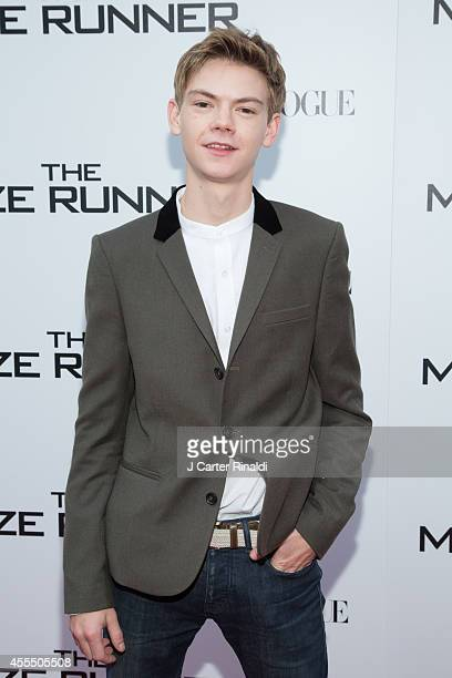 Actor Thomas BrodieSangster attends the 'Maze Runner' New York City screening hosted by Twentieth Century Fox and Teen Vogue at SVA Theater on...