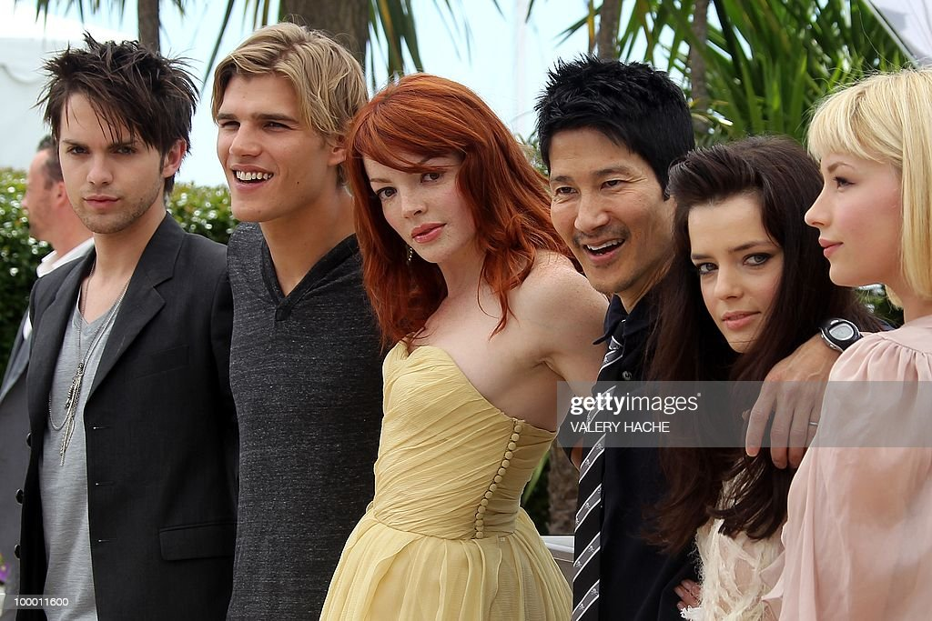 US actor Thomas Dekker, actor Chris Zylka, French actress Nicole LaLiberte, US director Gregg Araki, French actress Roxane Mesquida and US actress Haley Bennett pose during the photocall of 'Kaboom' presented out of competition at the 63rd Cannes Film Festival on May 15, 2010 in Cannes.