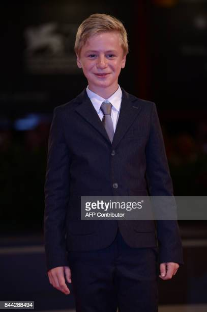 Actor Thomas Gioria attends the premiere of the movie 'Jusqu'à la Garde' presented in competition at the 74th Venice Film Festival on September 8...