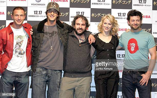 Actor Thomas Kretschmann Adrien Brody director Peter Jackson actress Naomi Watts and actor Andy Serkis pose during a photocall for Peter Jackson's...