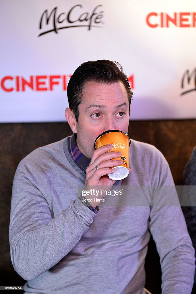 Actor Thomas Lennon warms up at the McDonald's McCafe at Sundance on January 21, 2013 in Park City, Utah.