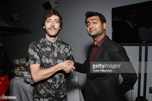 Actor Thomas Middleditch and Kumail Nanjiani attend TheWrap's 2nd annual Emmy party at The London Hotel on June 11 2015 in West Hollywood California