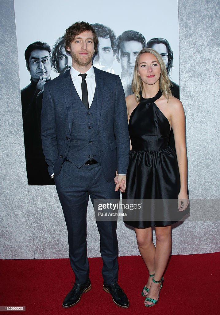 Actor Thomas Middleditch (L) attends the premiere of HBO's 'Silicon Valley' at Paramount Studios on April 3, 2014 in Hollywood, California.