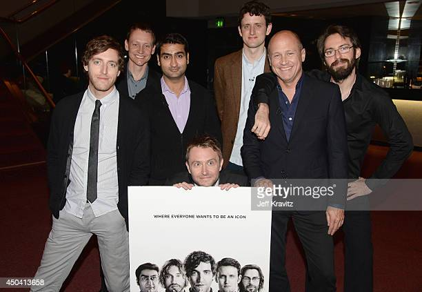 Actor Thomas Middleditch producer Alec Berg actor Kumail Nanjiani moderator Chris Hardwick actor Zach Woods creator Mike Judge and actor Martin Starr...