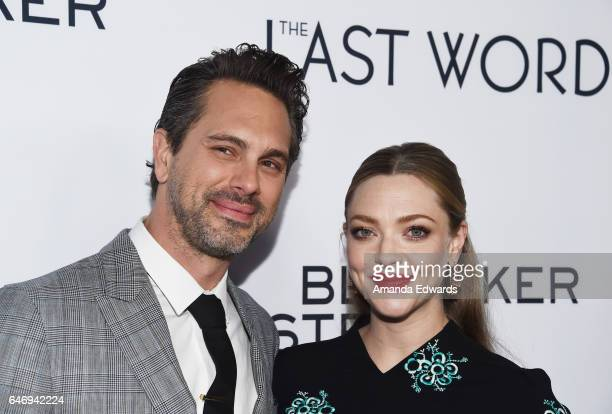 Actor Thomas Sadoski and actress Amanda Seyfried arrive at the premiere of Bleecker Street Media's 'The Last Word' at ArcLight Hollywood on March 1...