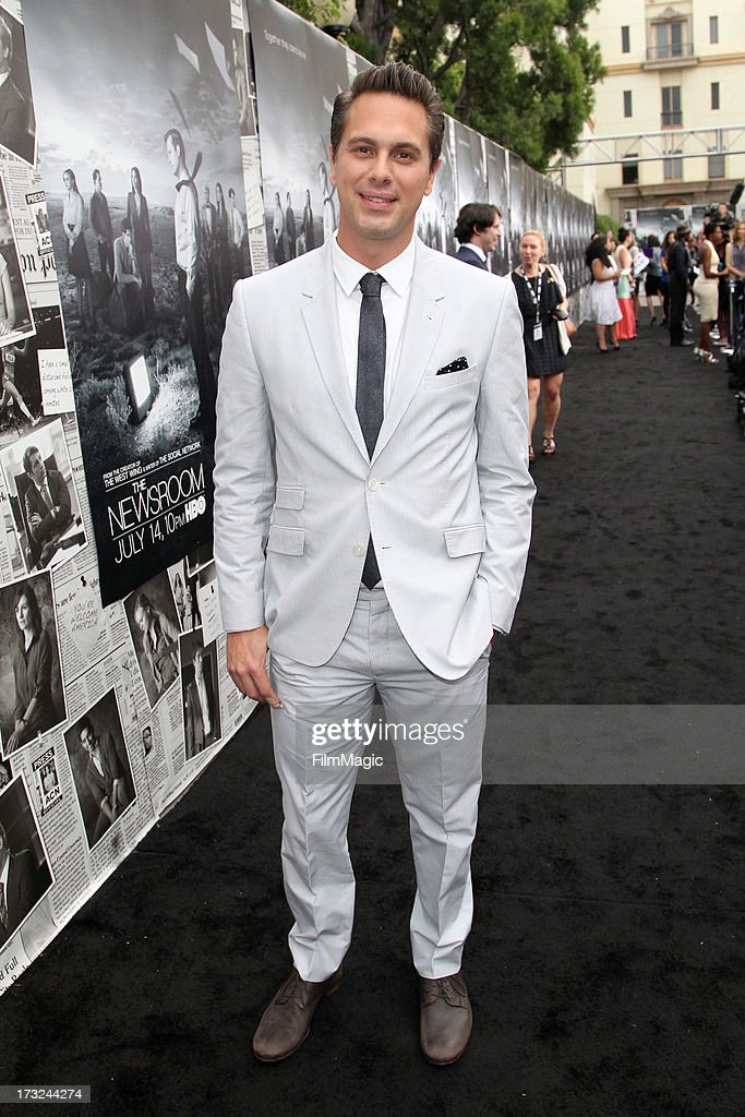 Actor Thomas Sadoski attends HBO's 'The Newsroom' season 2 premiere at Paramount Studios on July 10, 2013 in Hollywood, California.