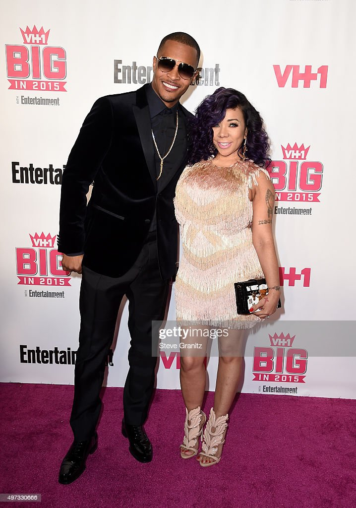 Actor T.I. (L) and singer Tameka Cottle attend VH1 Big In 2015 With Entertainment Weekly Awards at Pacific Design Center on November 15, 2015 in West Hollywood, California.