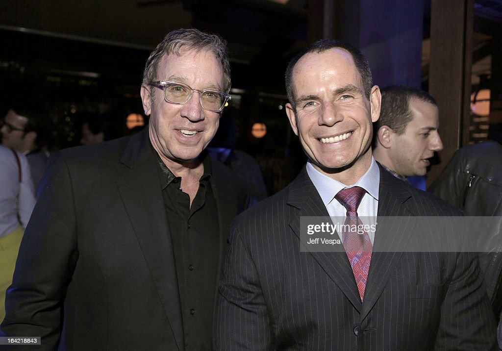 Actor <a gi-track='captionPersonalityLinkClicked' href=/galleries/search?phrase=Tim+Allen&family=editorial&specificpeople=206248 ng-click='$event.stopPropagation()'>Tim Allen</a> and BlackBerry Marketing Director Richard Piasentin attend a celebration of the BlackBerry Z10 Smartphone launch at Cecconi's Restaurant on March 20, 2013 in Los Angeles, California.