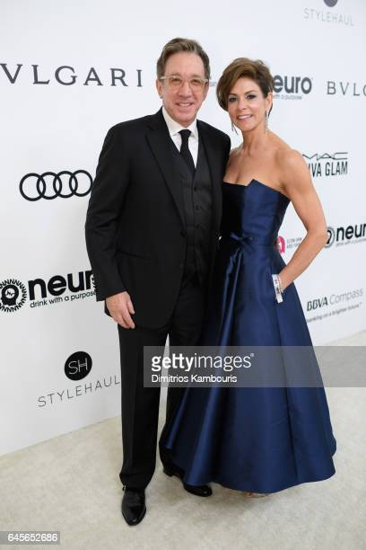 Actor Tim Allen and Jane Hajduk attend the 25th Annual Elton John AIDS Foundation's Academy Awards Viewing Party at The City of West Hollywood Park...