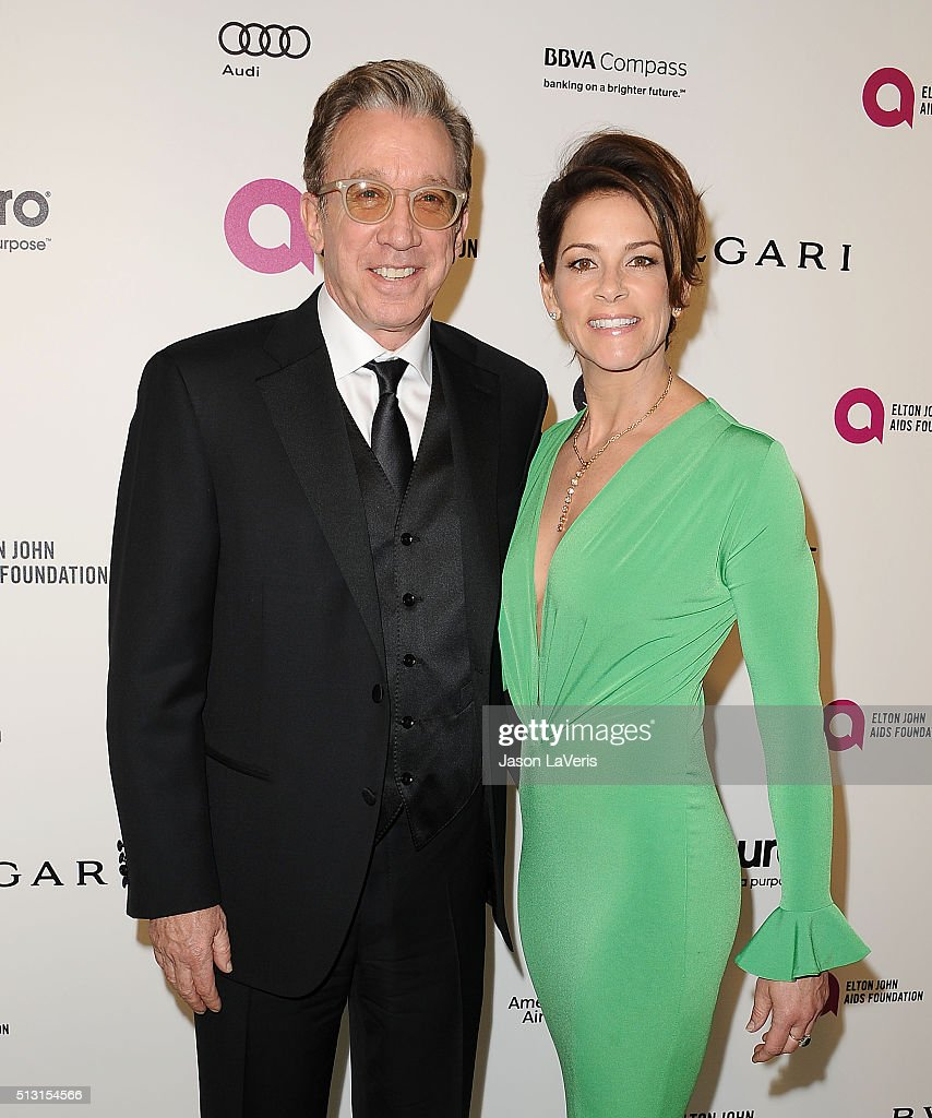 Actor Tim Allen and wife Jane Hajduk attend the 24th annual Elton John AIDS Foundation's Oscar viewing party on February 28, 2016 in West Hollywood, California.