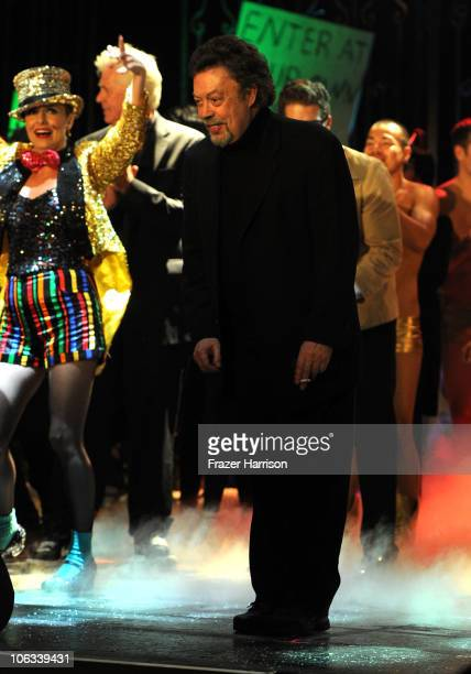 Actor Tim Curry onstage during The Rocky Horror Picture Show 35th anniversary to benefit The Painted Turtle at The Wiltern on October 28 2010 in Los...