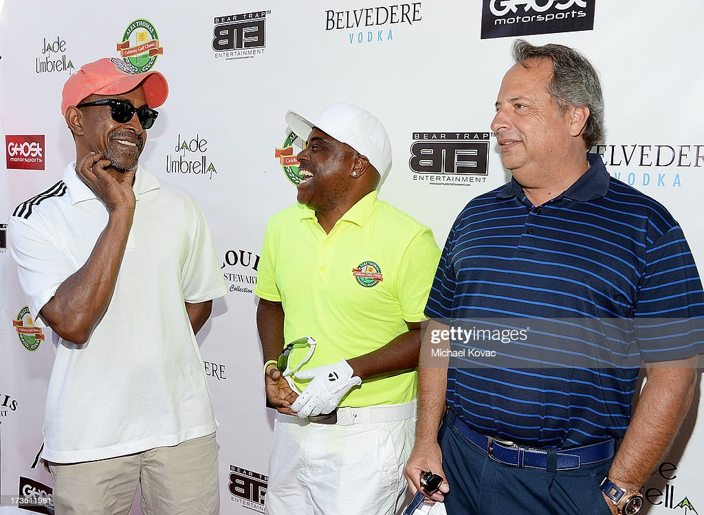 Actor Tim Meadows, comedian Alex Thomas, and Jon Lovitz attend The 4th annual Alex Thomas Celebrity Golf Classic presented by Belvedere at Mountain Gate Country Club on July 15, 2013 in Los Angeles, California.