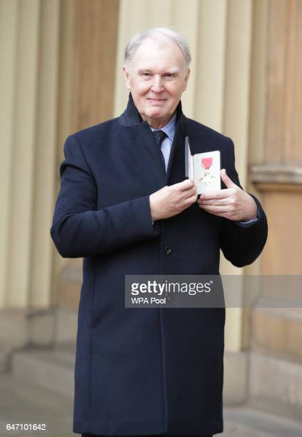 Actor Tim PigottSmith at Buckingham Palace in London after receiving his OBE from the Duke of Cambridge on March 2 2017 in London England