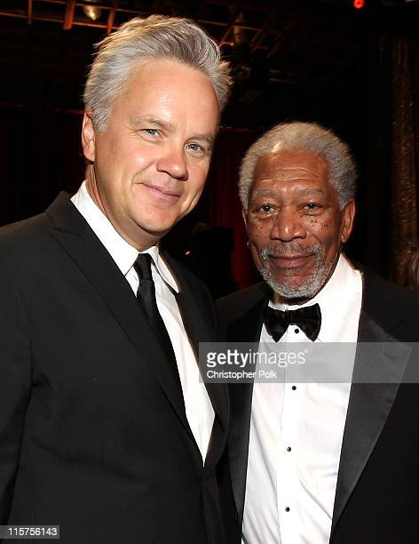 Actor Tim Robbins and 39th Life Achievement Award recipient Morgan Freeman in the audience at the 39th AFI Life Achievement Award honoring Morgan...