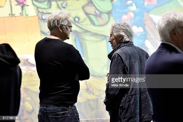Actor Tim Robbins and musician Roger Waters attend in celebration of the release of the Limited Edition box set of the film 'Roger Waters The Wall'...