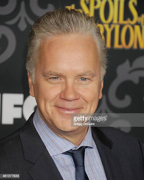 Actor Tim Robbins arrives at the Los Angeles premiere of 'The Spoils Of Babylon' at DGA Theater on January 7 2014 in Los Angeles California