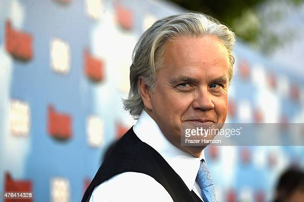 Actor Tim Robbins arrives at the Premiere Of HBO's 'The Brink' at Paramount Studios on June 8 2015 in Hollywood California