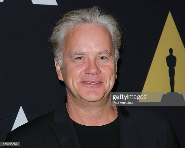 Actor Tim Robbins attends the 20th anniversary screening of 'The Shawshank Redemption' at the AMPAS Samuel Goldwyn Theater on November 18 2014 in...