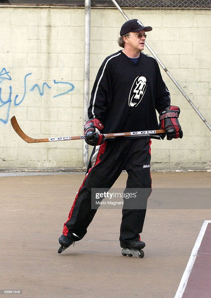Actor Tim Robbins plays street hockey with friends in the West Village on October 23, 2005 in New York City.