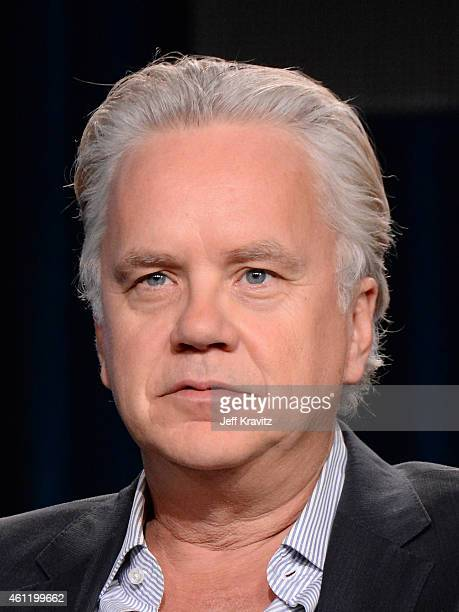 Actor Tim Robbins speaks onstage during 'The Brink' panel as part of the 2015 HBO Winter Television Critics Association press tour at the Langham...