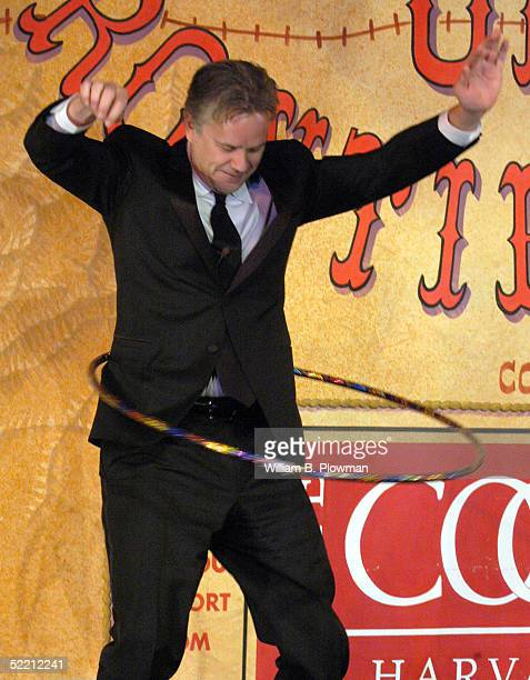 Actor Tim Robbins uses a hula hoop during ceremonies at Harvard University's Hasty Pudding Theatricals 'Man of the Year' on February 17 2005 in...