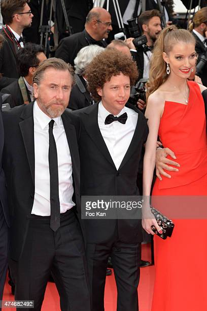 Actor Tim Roth director Michel Franco and a guest attend the closing ceremony and Premiere of 'La Glace Et Le Ciel' during the 68th annual Cannes...